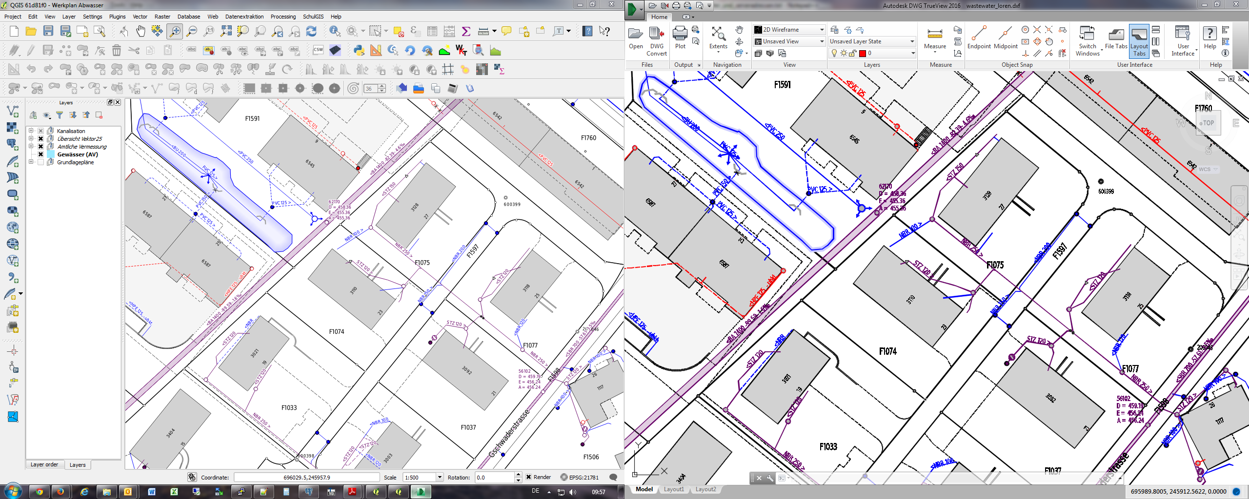 Comparison QGIS (original) and rendering of exported DXF File in Autodesk TrueView